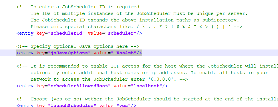SET-104] Java options should be added to the JobScheduler Master